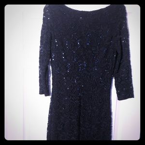 Navy blue sequined lace sheath dress